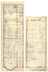 Basement and second floor plans of 305 Commonwealth, bound with the final building inspection report , 28Jan1886 (v. 14, p. 79); Boston City Archives