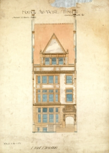 Architect's rendering of 305 Commonwealth; courtesy of the Boston Public Library, Fine Arts Department, Peabody and Stearns Collection