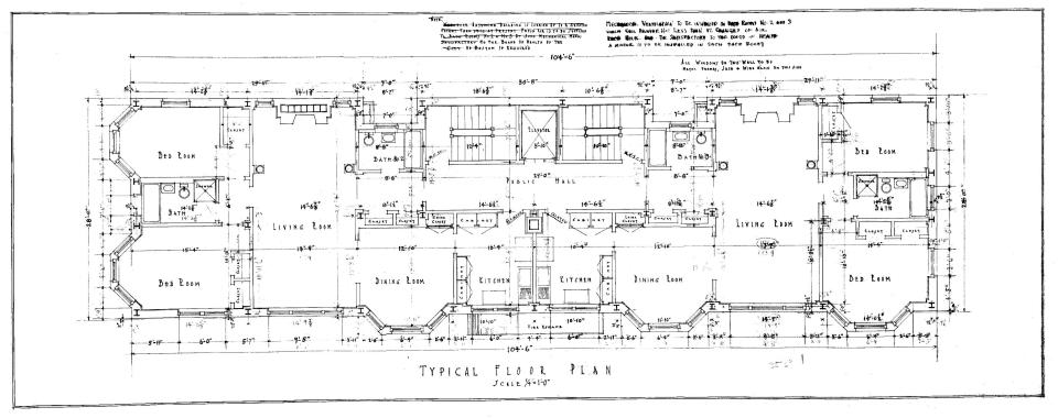 Typical floor plan (for floors above the first floor) of 311 Commonwealth (1924), by Funk and Wilcox, courtesy of the Boston Public Library Arts Department City of Boston Blueprints Collection