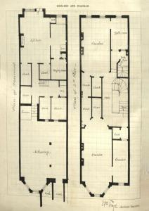 Drawing of basement and second floor plans for 321 Commonwealth, drawn on the final building inspection report, 5Oct1880 (v. 1, p. 62); courtesy of the Boston Public Library Arts Department