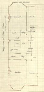 Drawing of third floor plan for 323 Commonwealth, drawn on the final building inspection report, 4Oct1880 (v. 1, p. 54); courtesy of the Boston Public Library Arts Department