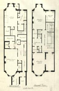 Drawing of basement and second floor plans for 325 Commonwealth, drawn on the final building inspection report, 1Nov1880 (v. 1, p. 87); courtesy of the Boston Public Library Arts Department