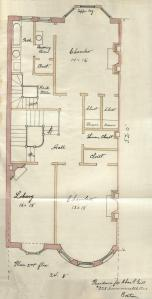Second floor plan of 330 Commonwealth, bound with the final building inspection report, 4Jan1889 (v. 27, p. 112); courtesy of the Boston Public Library Arts Department