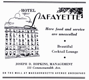Advertisement for the Hotel Lafayette; Boston's Back Bay, published by the Back Bay Association, 1941