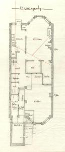 Basement floor plan of 334 Commonwealth, bound with the final building inspection report, 12Oct1880 (v. 1, p. 75); Boston City Archives