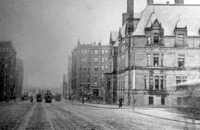355 Commonwealth (ca. 1893), looking north on Massachusetts Avenue towards 411 Marlborough (416 Marlborough not yet built); courtesy of Anthony Sammarco