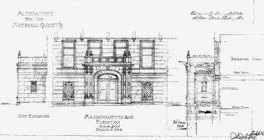 Architectural rendering of new Massachusetts Avenue entrance to 355 Commonwealth (1926) by Chapman and Frazer; courtesy of the Boston Public Library Arts Department, City of Boston Blueprints Collection