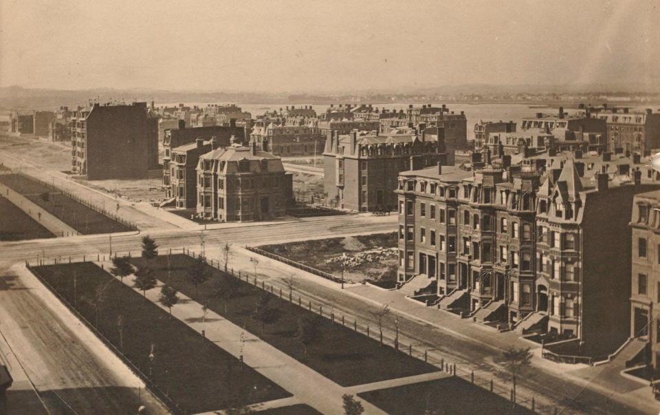 Commonwealth Avenue, looing northwest from Clarendon (ca. 1875), photograph taken from the Brattle Street (First Baptist) Church tower; courtesy of the Print Department, Boston Public Library