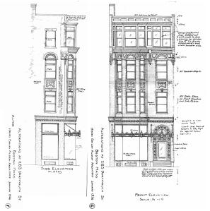 Architectural renderings of the front and side of the proposed façade of 283 Dartmouth (1926), by Henry Bailey Alden (composite of two drawings); courtesy of the Boston Public Library