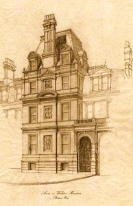 Carriage entrance of 36 Dartmouth remodeled 1882; pencil drawing by Mark Jackson, Hamady Architects LLC