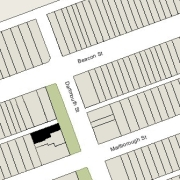 Irregular Lot 22' on Dartmouth, 100' on Alley 418, 33' on the western line (2,992 sf)