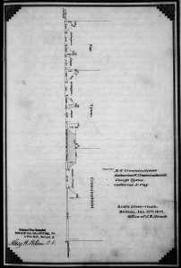 Plot plan from January of 1872 showing line of Dartmouth Street façades of 164 Marlborough and 312-314 Dartmouth as built (area where future building is prohibited shown in grey); filed with owners' agreement, Suffolk County Deed Registry, Book 1088, p. 54 (12Jan1872)
