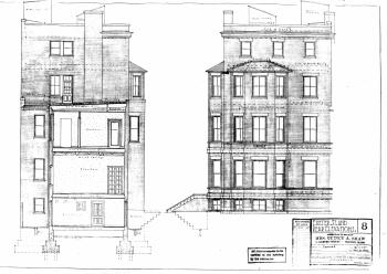 Rendering of Exeter St. and western façades , by architects Richardson, Barott, and Richardson (Dec1922); courtesy of the Boston Public Library Arts Department, City of Boston Blueprints Collection