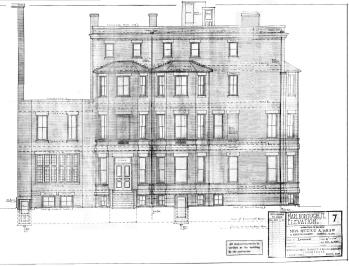 Rndering of Marlborough Street façade , by architects Richardson, Barott, and Richardson (Dec1922); courtesy of the Boston Public Library Arts Department, City of Boston Blueprints Collection