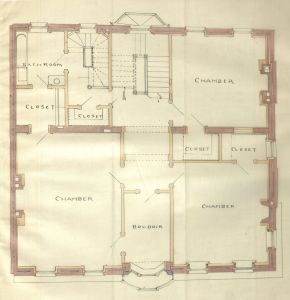 Second floor plan of 18 Exeter, bound with the final building inspection report, 16Dec1886 (v. 17, p. 65); Boston City Archives