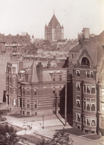 25 Exeter, with 190-192 Commonwealth to the east; (ca. 1885), detail from photograph by John P. Soule; courtesy of the Boston Athenaeum