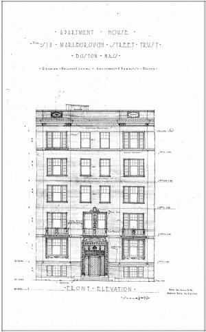 Architectural rendering of the front elevation of 6 Marlborough by architect George Nelson Jacobs, Oct1924; courtesy of the Boston Public Library Fine Arts Department, City of Boston Blueprints Collection