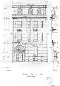 Front elevation of 10 Marlborough by architects Little and Browne, Jan1906; courtesy of the Boston Public Library Fine Arts Department, Blueprint Collection