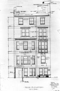 Rearelevation of 10 Marlborough by architects Little and Browne, Jan1906; courtesy of the Boston Public Library Fine Arts Department, Blueprint Collection