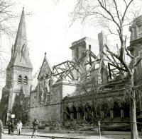 First Church following March 29, 1968 fire; photograph by the Boston Redevelopment Authority, courtesy of the Boston Athenaeum