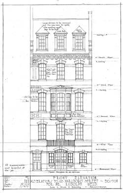 Architectural rendering of remodeled front facade of 63 Marlborough (ca. 1917) by Lois L. Howe and Manning, architects; courtesy of the Boston Public Library Arts Department, Boston City Archives, and Janet Hurwitz, architect