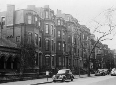 Looking west from 66 Marlborough towards Clarendon (ca. 1942), photograph by Bainbridge Bunting, courtesy of The Gleason Partnership