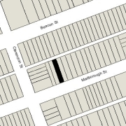 Irregular Lot 20.02' on Marlborough, 20.09' on Alley 420, 112' North-South (2,246 sf)