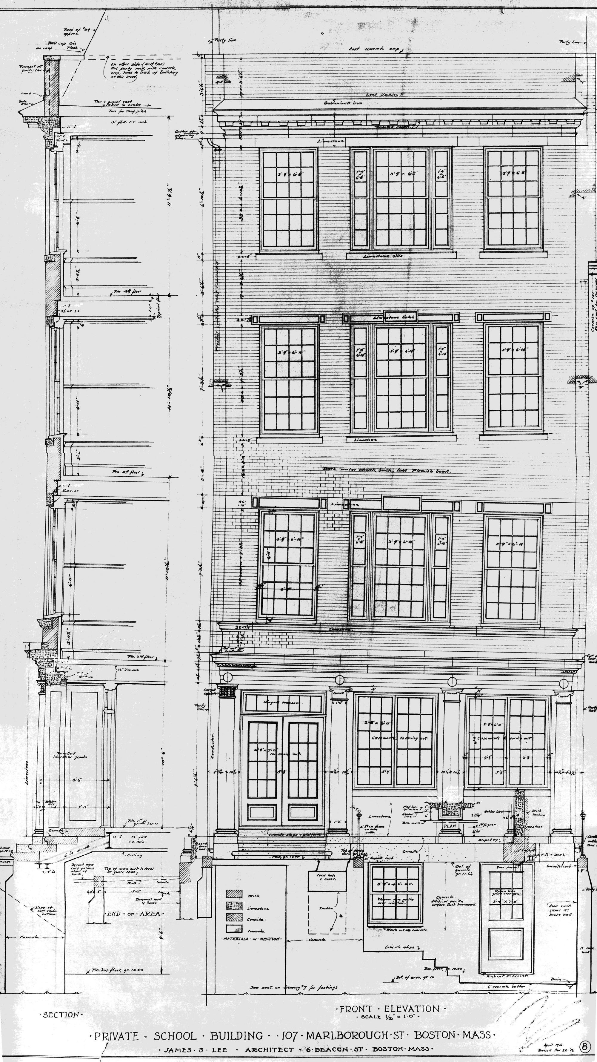 107 marlborough back bay houses front elevation of 107 marlborough by architect james s lee nov1916 courtesy of malvernweather