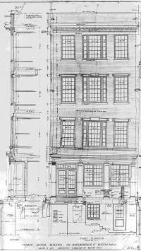 Front elevation of 107 Marlborough by architect James S. Lee, Nov1916; courtesy of the Boston Public Library Fine Arts Department, Blueprint Collection