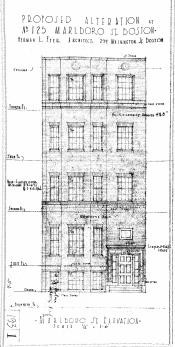 Architectural rendering of proposed front elevation of 125 Marlborough (1937) by Herman L. Feer; courtesy of the Boston Public Library Arts Department