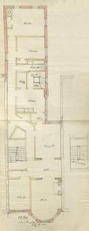 Second floor plan of 138 Marlborough, bound with the final building inspection report, 23Oct1891 (v. 41, p. 66); courtesy of the Boston Public Library Arts Department