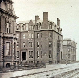 Detail from a photograph looking west on Marlborough (ca. 1875), showing the northern portion of the façade of 314 Dartmouth; courtesy of Historic New England
