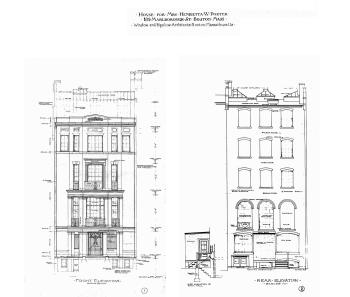Combined architectural renderings of the front and rear elevations of 189 Marlborough (1906), by architects Winslow and Bigelow; courtesy of the Boston Public Library Arts Department, City of Boston Blueprints Collection