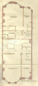 Second floor plan of 251 Marlborough, bound with the final building inspection report, 16Dec1886 (v. 17, p. 70); courtesy of the Boston Public Library Arts Department