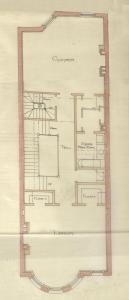 Floor plan of 275 Marlborough (second or third floor), bound with the final building inspection report , 13Nov1886 (v. 16, p. 48); Boston City Archives