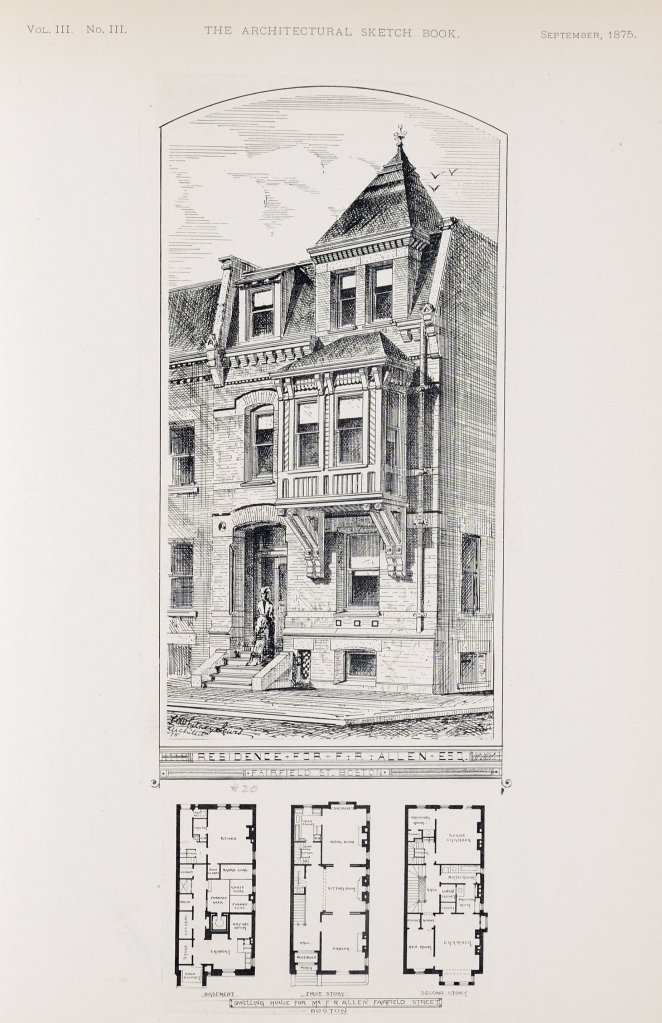 Architect's rendering of 20 Fairfield; Architectural Sketchbook, v. III, no. 3 (Sep1875); courtesy of the Boston Athenaeum
