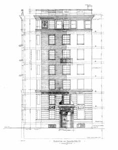 Architectural rendering of the Gloucester Street elevation of 8 Gloucester, by architects Parker, Thomas, and Rice; courtesy of the Boston Public Library Arts Department, City of Boston Blueprints Collection