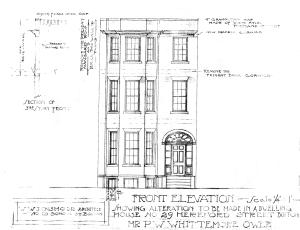 Architectural rendering of proposed front elevation of 29 Hereford (1922) by architect William W. Dinsmoor; courtesy of the Boston Public Library Arts Department