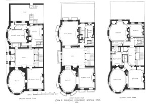 Floor plans for the ground, first, and second floors of 32 Hereford, ca. 1886; from A Monograph of the Works of McKim, Mead & White: 1879-1915 (The Architectural Book Publishing Company, New York); Plate 17