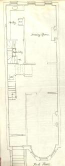 First floor plan of 230 Marlborough, bound with the final building inspection report, 23Oct1880 (v. 1, p. 82); courtesy of the Boston Public Library Arts Department