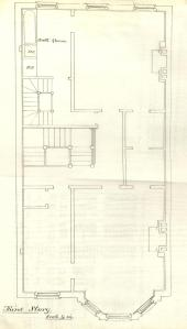 Third floor plan of 232 Marlborough, bound with the final building inspection report, 23Oct1880 (v. 1, p. 81); courtesy of the Boston Public Library Arts Department
