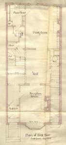 First floor plan of 248 Marlborough, bound with the final building inspection report, 15Dec1885 (v. 14, p. 14); courtesy of the Boston Public Library Arts Department