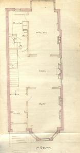 First floor plan of 274 Marlborough, bound with the final building inspection report, 21Jun1880 (v. 1, p. 33); Boston City Archives