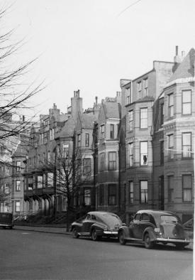 284-300 Marlborough, looking east towards Fairfield (ca. 1942), photograph by Bainbridge Bunting, courtesy of The Gleason Partnership