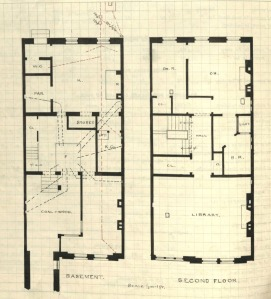Drawing of basement and second floor plans for 312 Marlborough, drawn on the final building inspection report, 4Oct1880 (v. 1, p. 55); courtesy of the Boston Public Library Arts Department