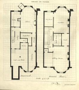 Drawing of basement and second floor plans for 314 Marlborough, drawn on the final building inspection report, 25Oct1880 (v. 1, p. 84); courtesy of the Boston Public Library Arts Department