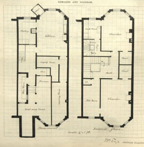 Drawing of basement and second floor plans for 320 Marlborough, drawn on the final building inspection report, 25Oct1880 (v. 1, p. 85); Boston City Archives