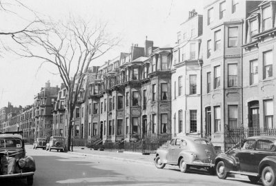 Looking west from 339 Marlborough (ca. 1942), photograph by Bainbridge Bunting, courtesy of The Gleason Partnership