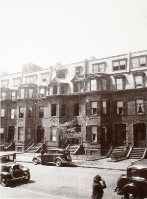351-355 Marlborough following the May 7, 1935, fire at 353 Marlborough; courtesy of Historic New England