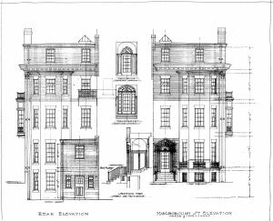 Architectural rendering of proposed front and rear elevations of 362 Marlborough (1912), by architect Edmund Q. Sylvester; courtesy of the Boston Public Library Arts Department, City of Boston Blueprints Collection